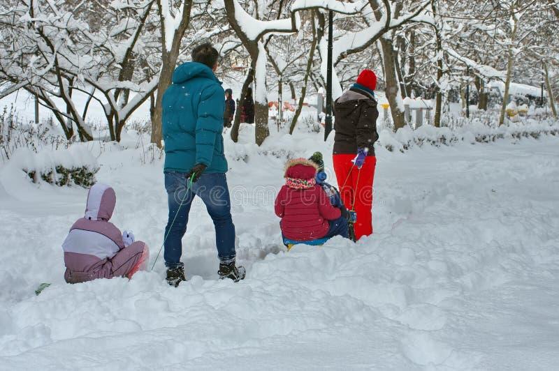 冬天在布加勒斯特,罗马尼亚 库存图片