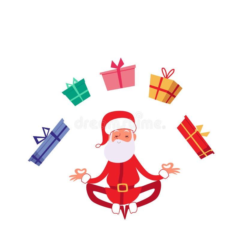 冬天在瑜伽姿势平的传染媒介例证的圣诞节假日圣诞老人隔绝了 皇族释放例证