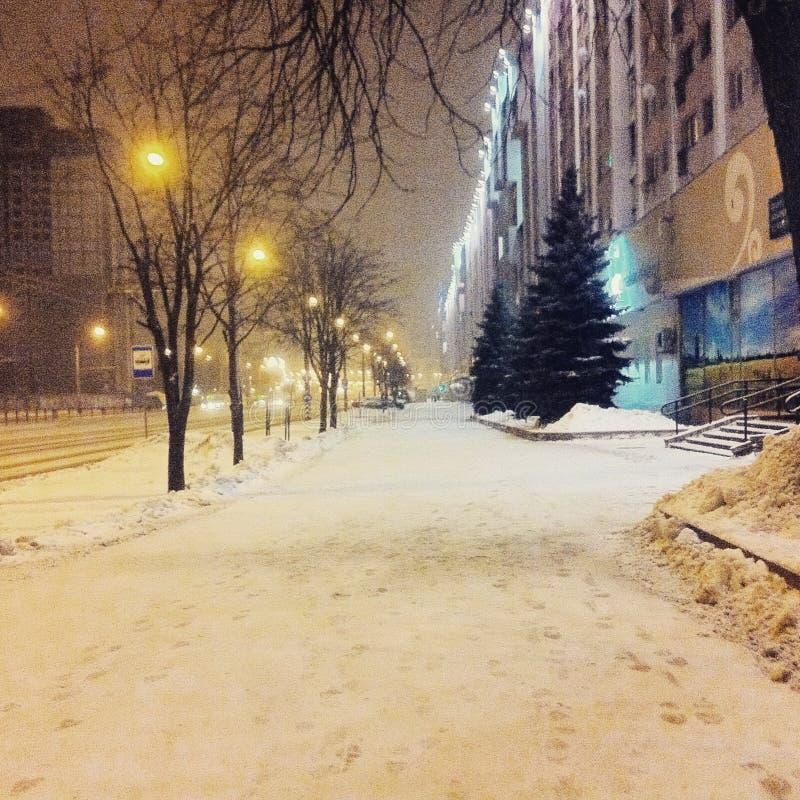 冬天在白俄罗斯镇Baranovichirr 免版税库存图片
