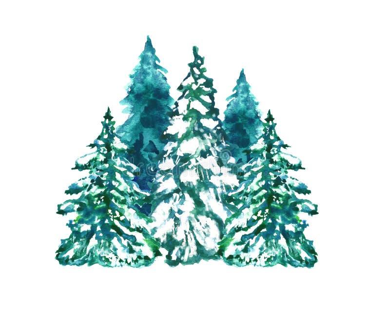 冬天在白色背景设置的圣诞树 手拉的水彩例证 免版税库存照片