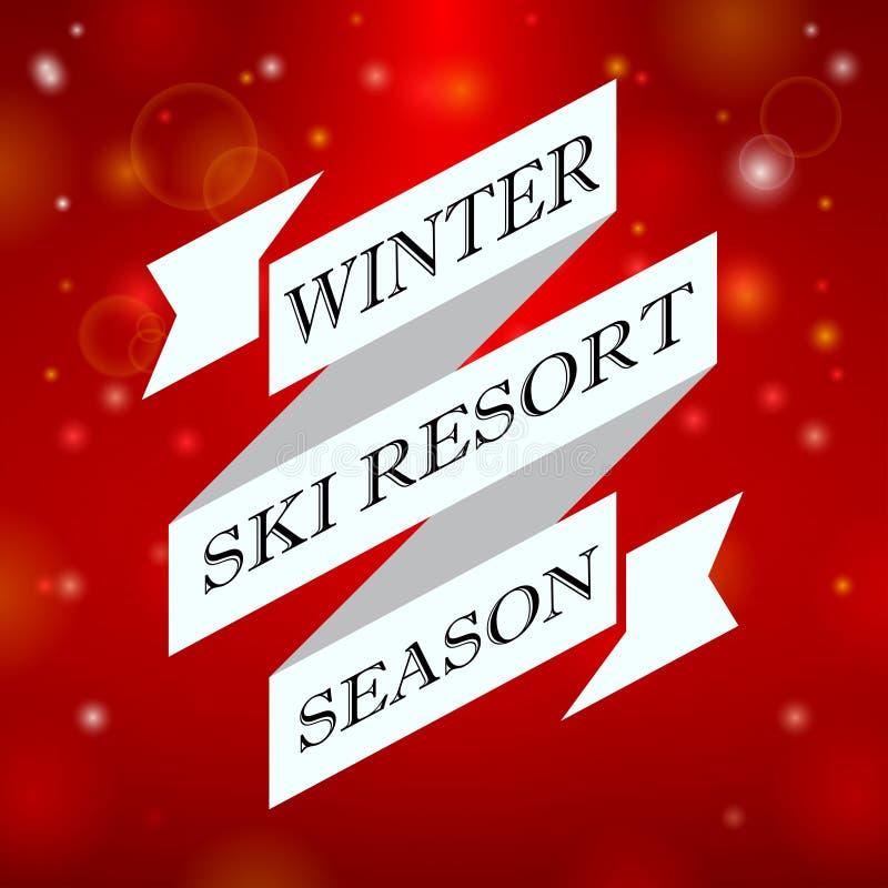 冬天在红色背景的滑雪胜地季节 向量例证