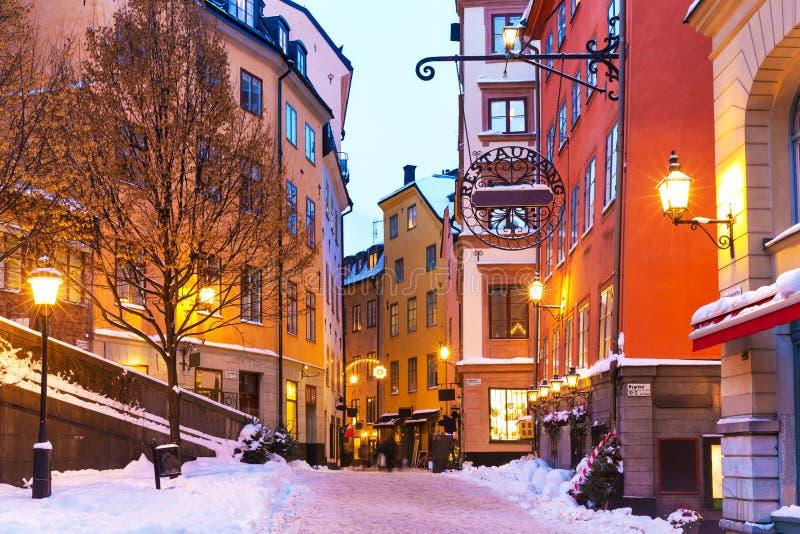 冬天在老城镇在斯德哥尔摩,瑞典 免版税库存照片