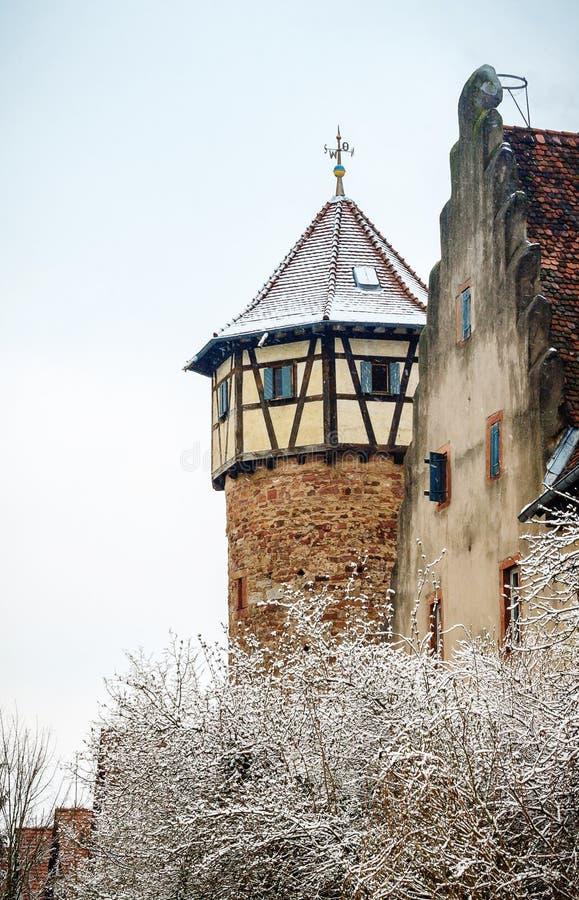 冬天在老城镇 免版税库存照片