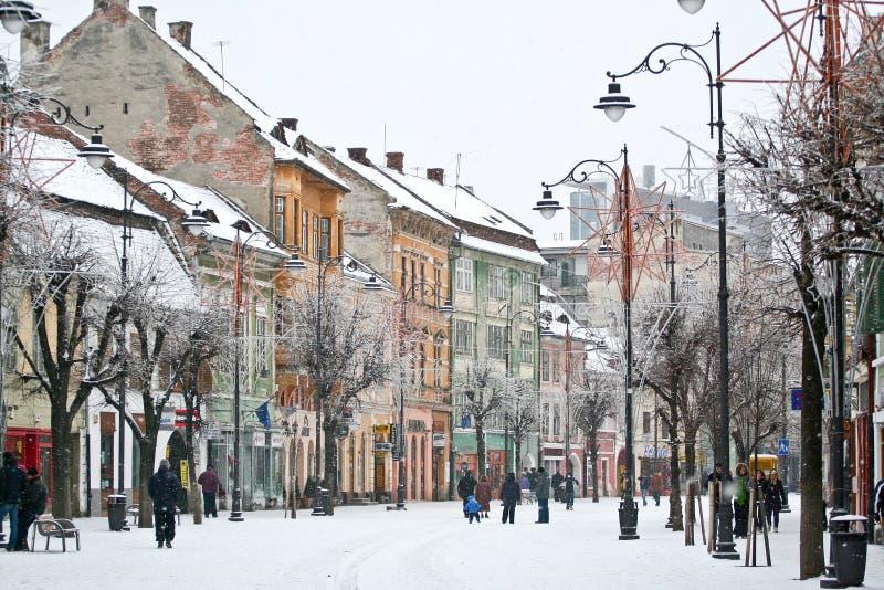 冬天在老镇锡比乌,罗马尼亚 库存图片