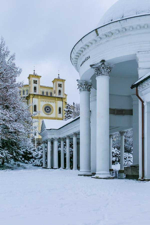 冬天在Marienbad,玛丽亚温泉市 免版税库存照片