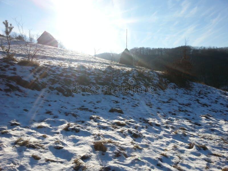 冬天在Viseul de乔斯, Maramures,罗马尼亚 库存图片