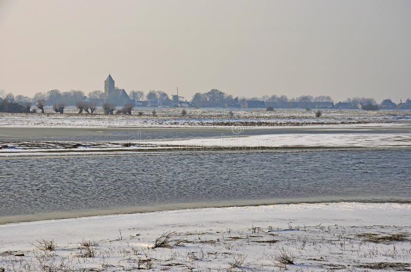 冬天在Zalk附近的洪泛区 库存图片