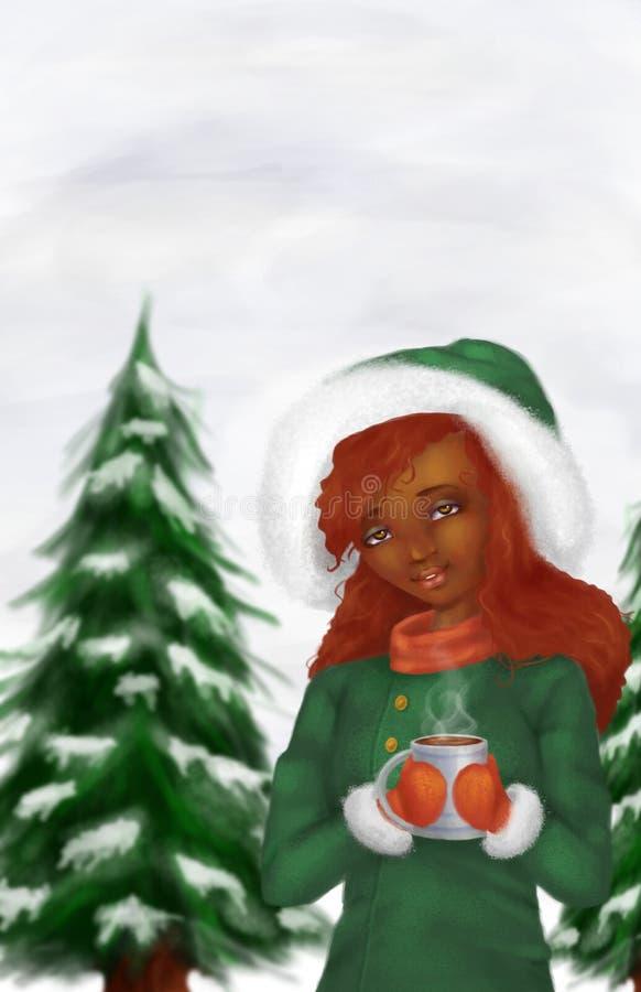 冬天场面的非裔美国人的妇女 库存照片