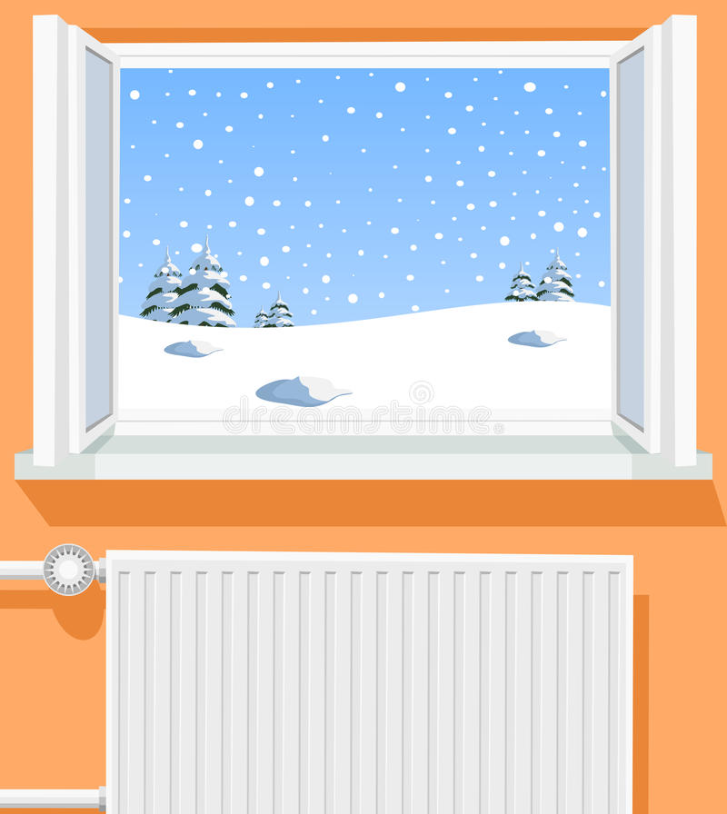 冬天场面通过被开张的视窗 皇族释放例证