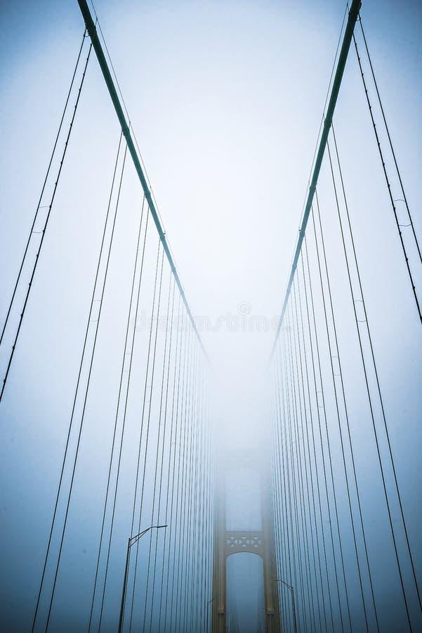 冬天场面临近麦基诺桥和mackinsw城市密执安 库存照片