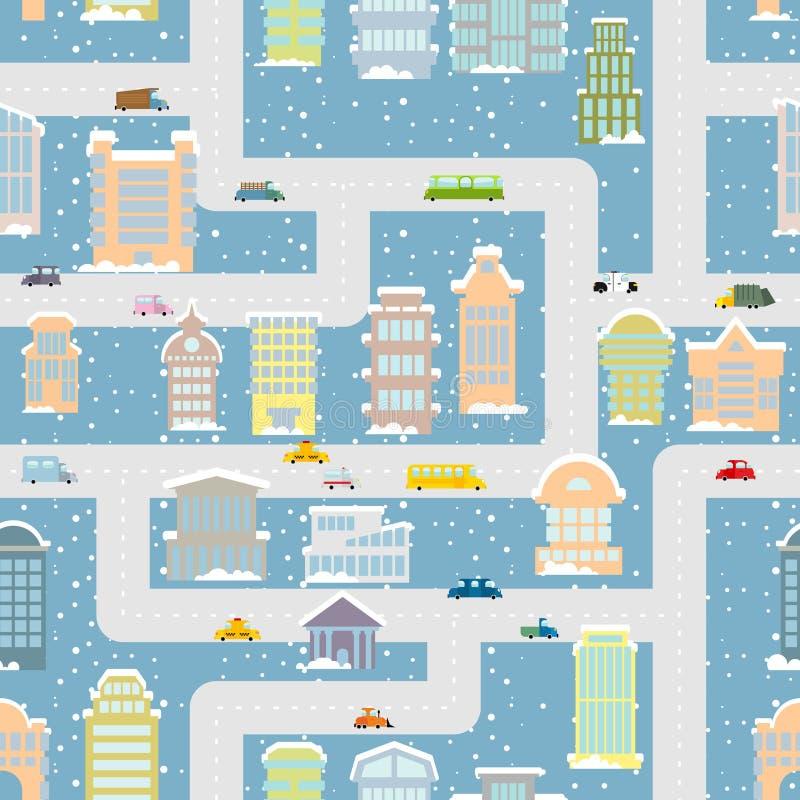 冬天城市无缝的样式 有办公楼的a大都会 皇族释放例证