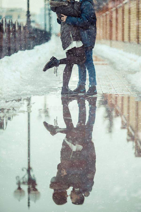冬天城市爱 免版税库存图片