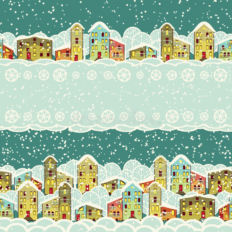 冬天城市,无缝的边界 库存例证