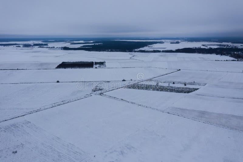 冬天多雪的农田寄生虫视图  库存图片