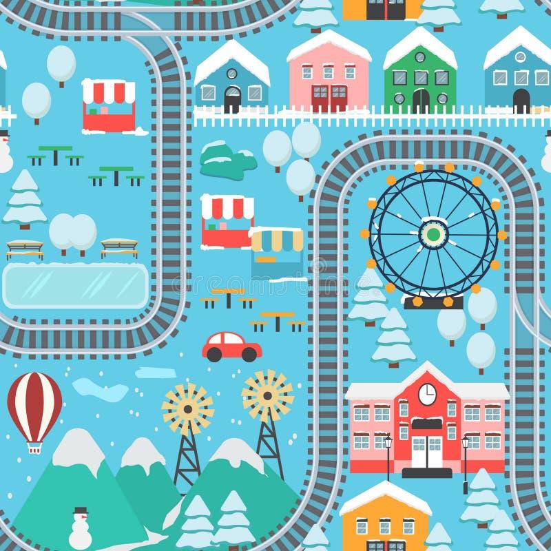 冬天多雪的城市火车轨道无缝的样式 向量例证
