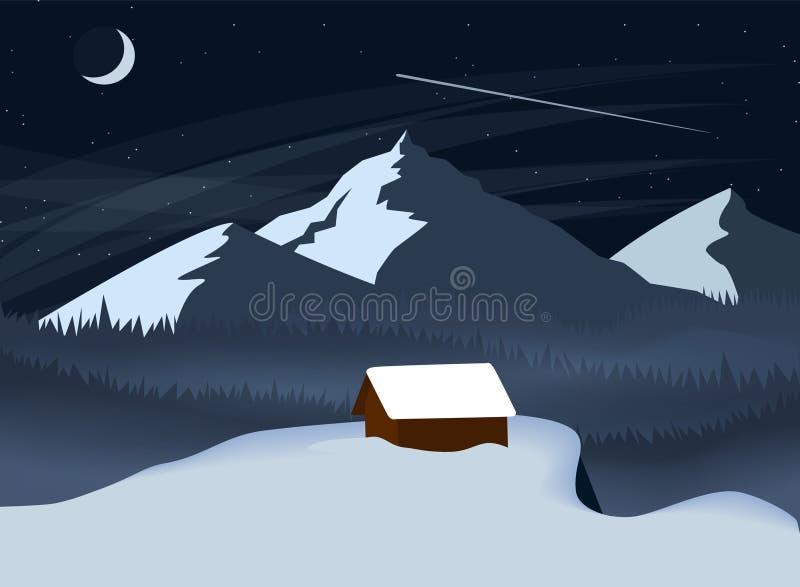 冬天夜与站立在峭壁的森林和一个偏僻的房子的山风景 简单的平的传染媒介例证 向量例证