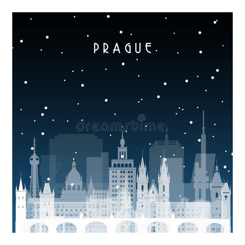 冬天夜在布拉格 向量例证