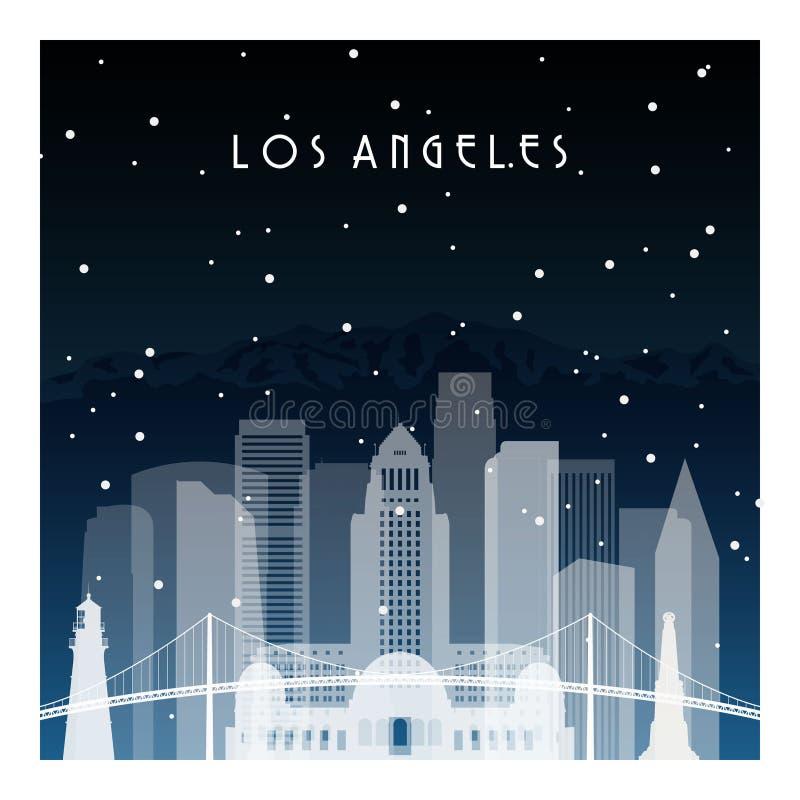 冬天夜在洛杉矶 库存例证