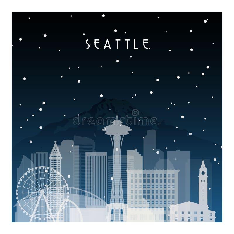 冬天夜在西雅图 库存例证