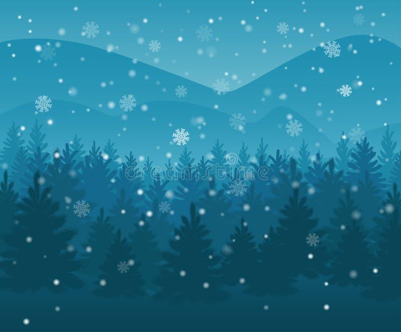 冬天夜森林落的雪在天空中 背景能圣诞节使用的例证主题 新年天气 背景 皇族释放例证