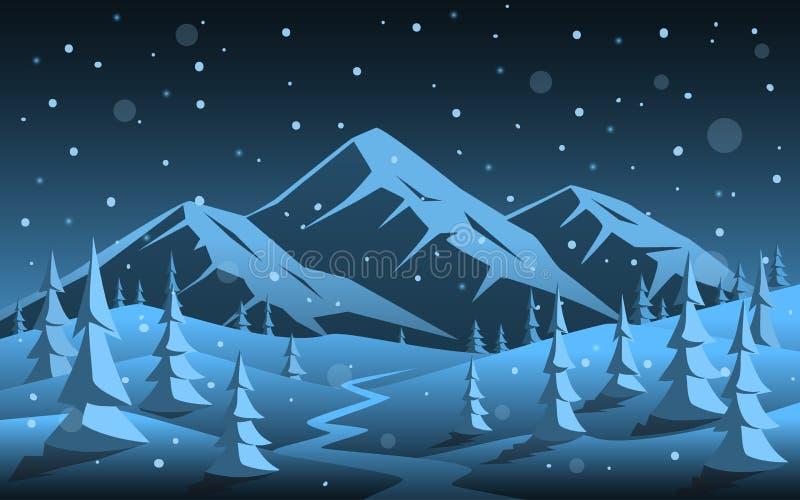 冬天夜落矶山脉和杉木森林森林地动画片xmas圣诞节新年背景 库存例证