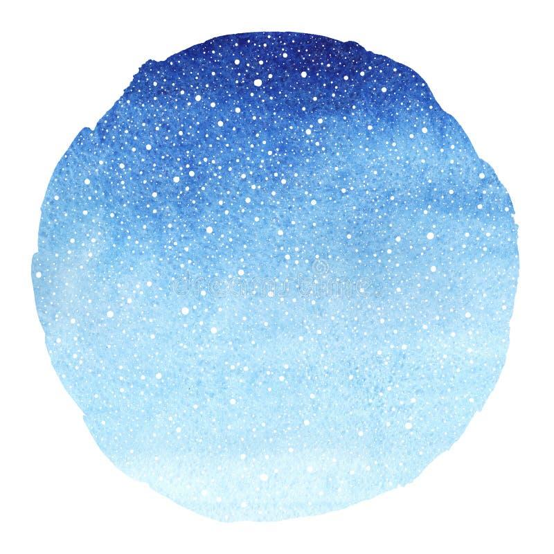 冬天天空圆的梯度蓝色水彩背景 向量例证