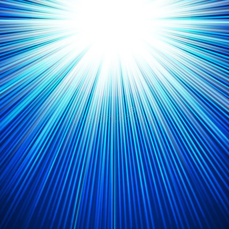 冬天太阳发光的凉快的蓝色背景 皇族释放例证
