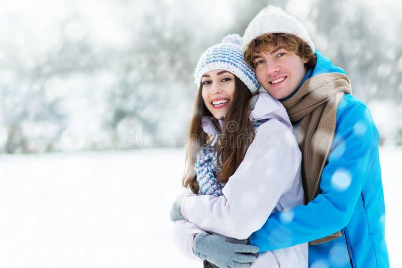 冬天夫妇 库存照片