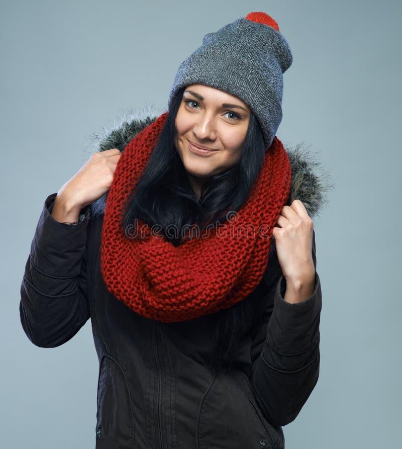 冬天夹克的妇女 免版税库存图片