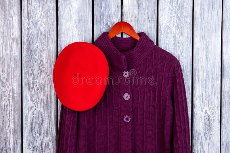 冬天妇女` s外套和帽子 免版税图库摄影