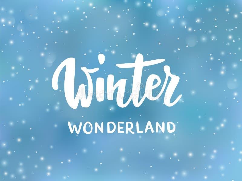 冬天妙境文本,手拉的刷子字法 假日问候行情 与下跌的雪作用的蓝色背景 库存例证