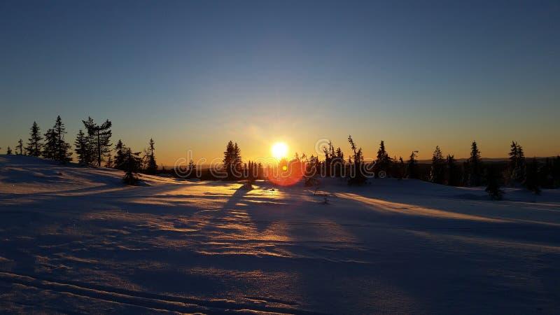 冬天妙境日落在Løten,挪威 免版税库存照片