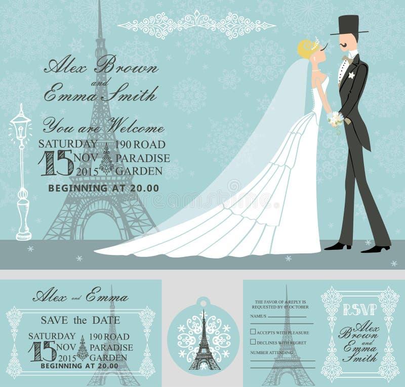 冬天婚礼邀请集合 新娘,新郎 向量例证