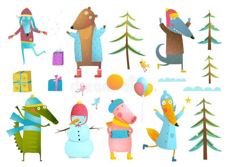 冬天季节假日动物孩子的剪贴美术汇集 皇族释放例证
