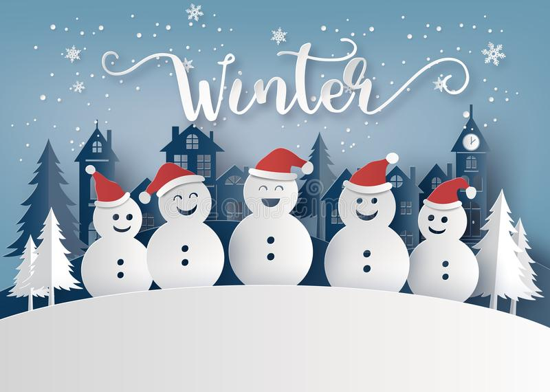 冬天季节和圣诞快乐与雪人 向量例证