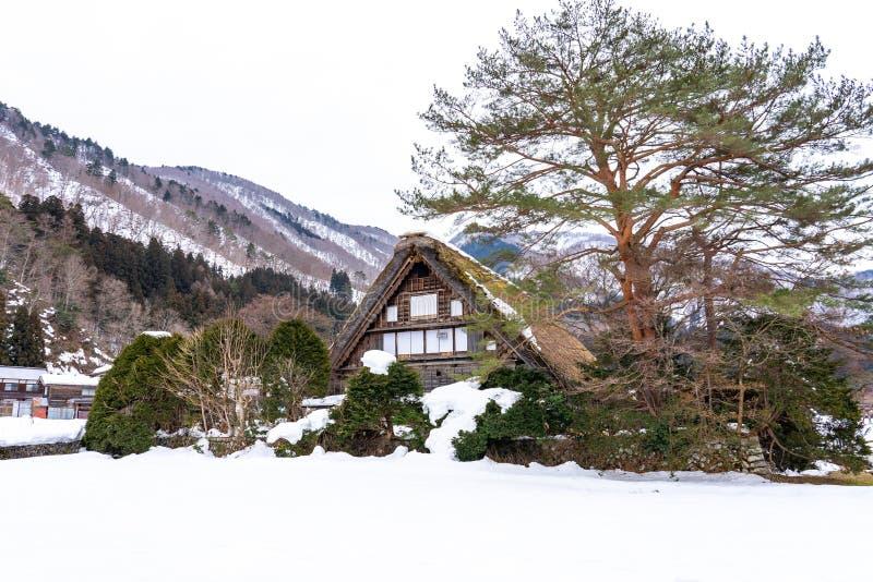 冬天季节在白川町去村庄,岐阜,日本 免版税图库摄影