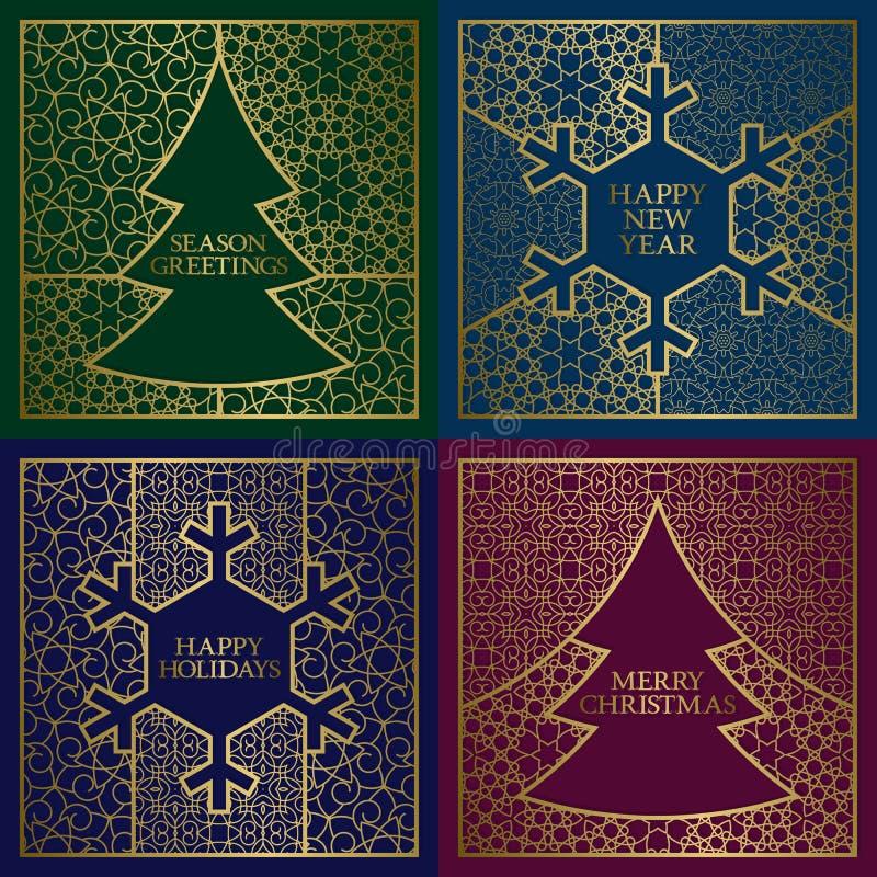 冬天季节被设置的贺卡盖子 与框架的金黄背景在圣诞树和新年雪花形状 向量例证