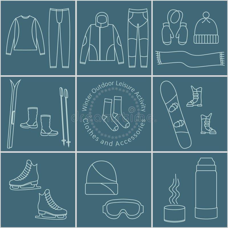 冬天室外娱乐活动衣裳和辅助部件,图表 库存例证