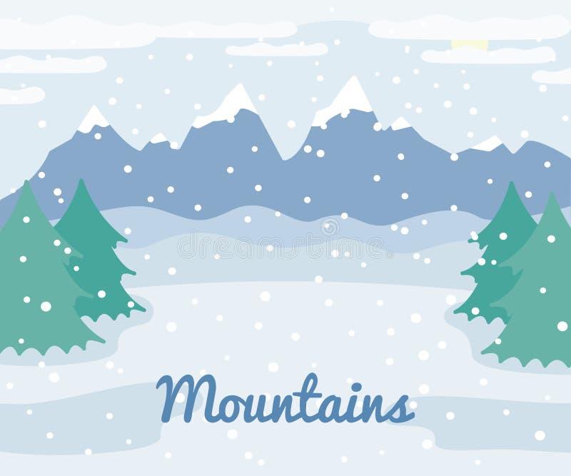 冬天山环境美化与云杉的树和雪,冬天室外视图,乡下自然例证 皇族释放例证