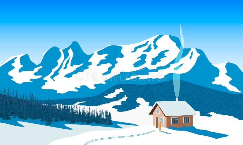 冬天山环境美化与房子,天空,雪,太阳光,烟囱烟,森林剪影,滑雪坡道 冷杉查出的结构树白色 向量 库存例证