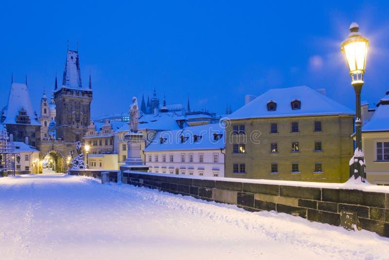 冬天布拉格,捷克共和国,欧洲 库存图片
