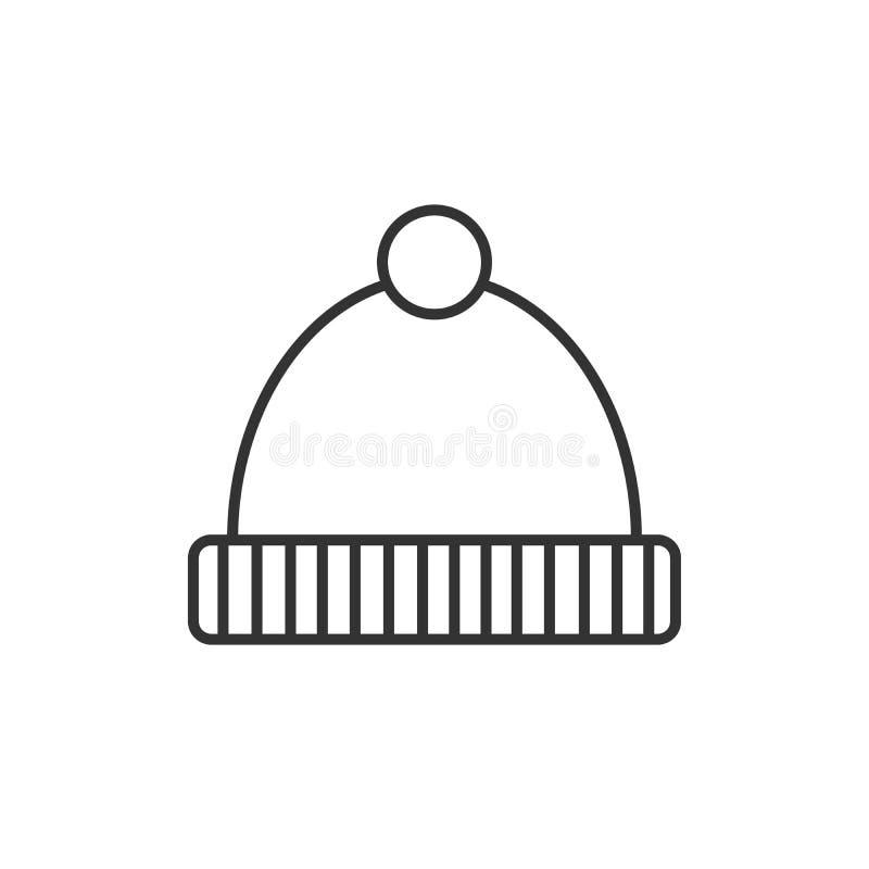 冬天帽子概述象 对流动概念和网络设计 童帽盖帽简单的线传染媒介象 标志,商标例证 象素 向量例证