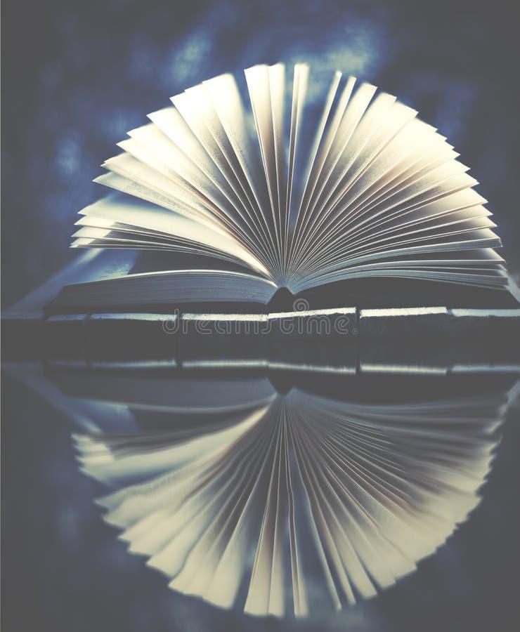 冬天故事,在蓝色充满活力的背景的书 库存图片