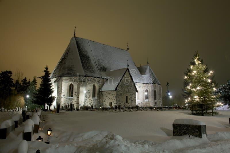 冬天教会 库存图片