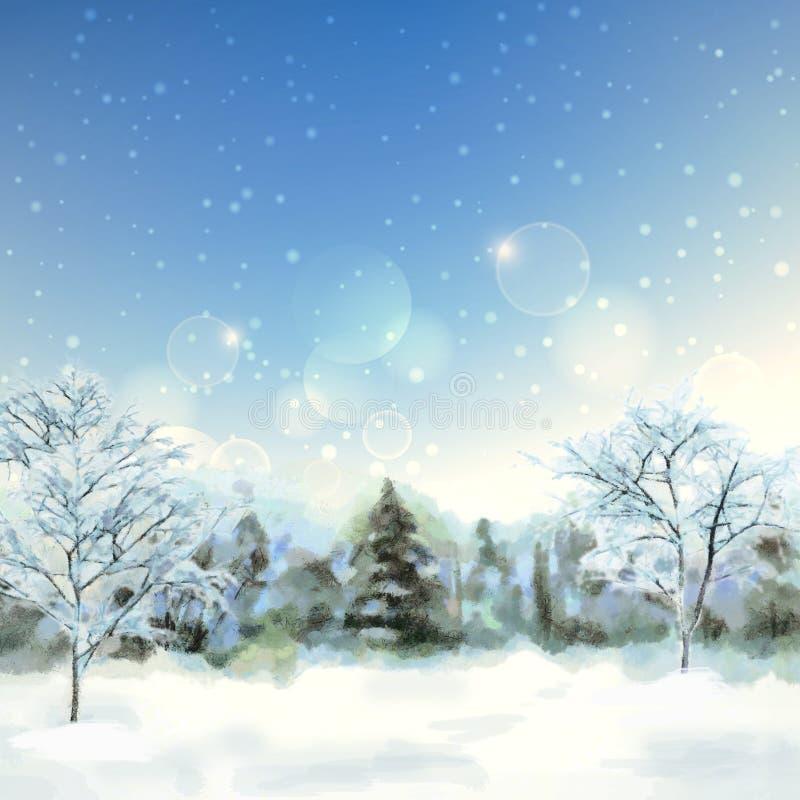 冬天数字式水彩风景 皇族释放例证