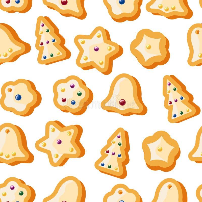 冬天无缝的样式用姜饼曲奇饼 令人敬畏的假日传染媒介背景 重复表面的圣诞节纹理 库存例证