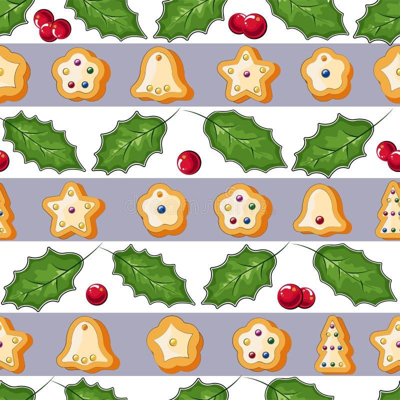 冬天无缝的样式用姜饼曲奇饼 令人敬畏的假日传染媒介背景 重复表面的圣诞节纹理 向量例证