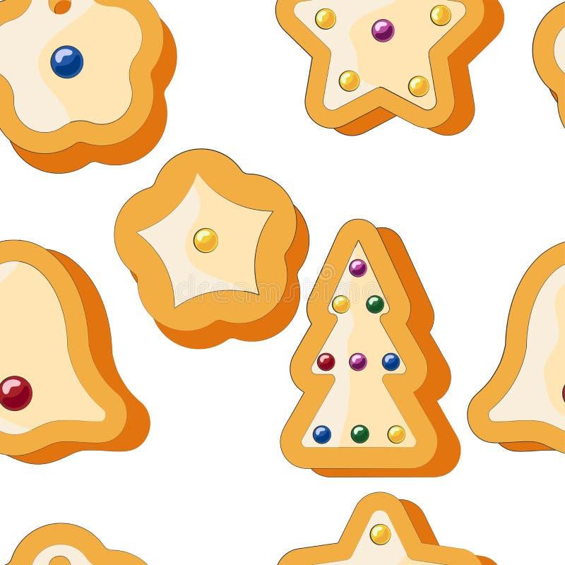 冬天无缝的样式用姜饼曲奇饼 令人敬畏的假日传染媒介背景 重复表面的圣诞节纹理 皇族释放例证