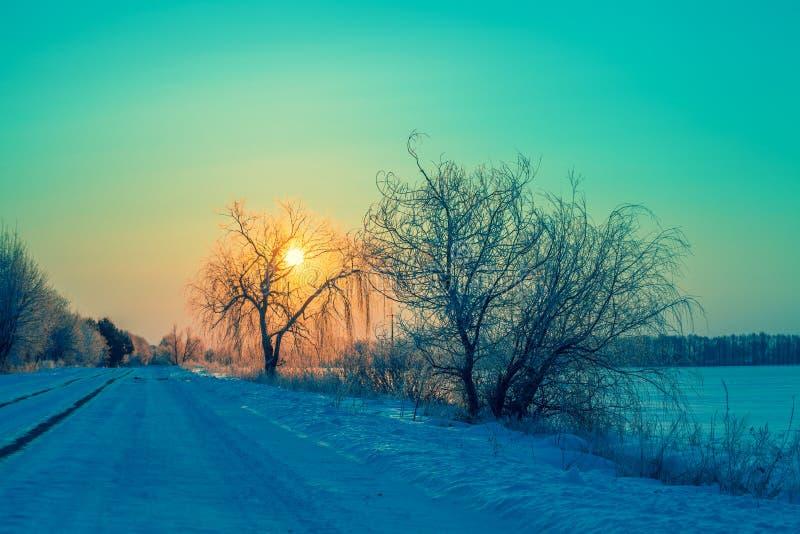 冬天日出在乡下 向日出的路 免版税库存照片