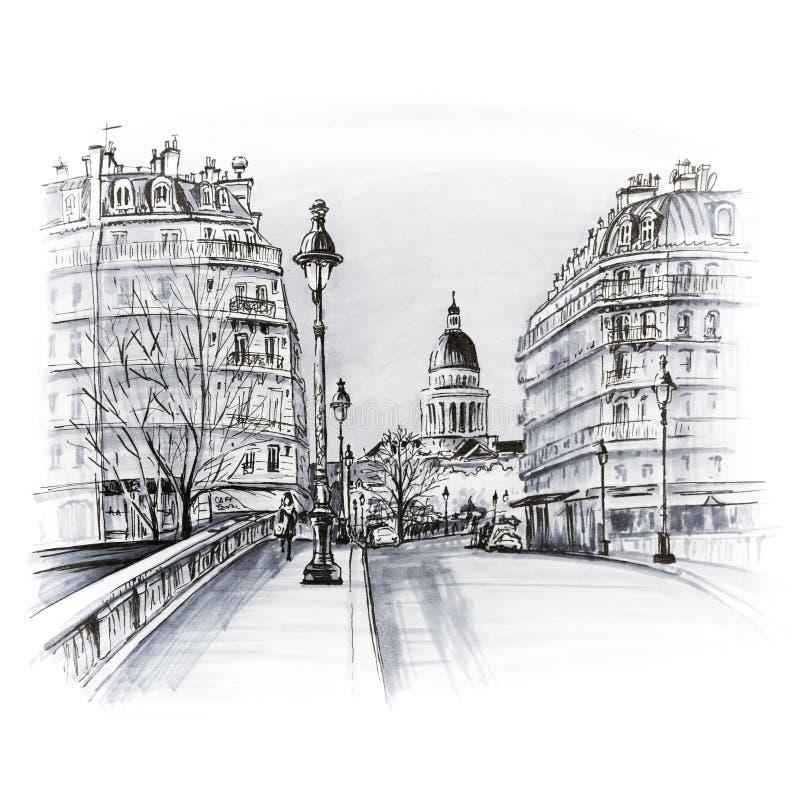 巴黎冬天早晨,法国 向量例证